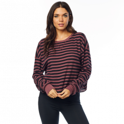 FOX Striped Out Thermal LS Crop Top - rose