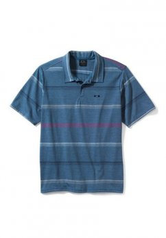 OAKLEY STRIPED UNION POLO - orion blue